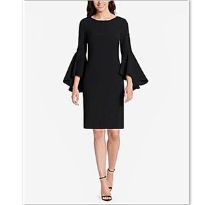 Jessica Howard Plus 16 Flutter Sleeve Crepe Dress
